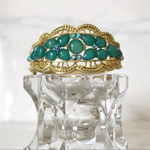 Vintage Teal Bangle Bracelet w/Rhinestones